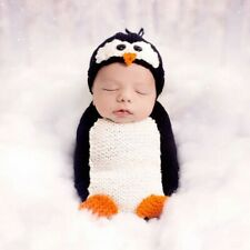 Newborn Baby Boy Crochet Knit Costume Penguin Photo Photography Prop Outfits Hat