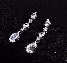 -Clip On- Wedding Cubic Zircon Tear Drop Crystals Silver Long Bridal Earrings