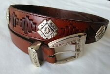 FOSSIL all leather BROWN women's belt W/GILDED METAL decor, buckle and loop Sz M