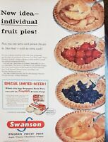 Lot of 3 Vintage Swanson Frozen TV Dinner and Pot Pie Print Ads