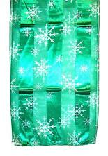 SCARF Winter Christmas Holidays Green & White Snow Flakes SNOWFLAKES
