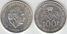 Gertbrolen MONACO 100 Francs Argent  40 Ans du Règne de  Rainier III 1989 N° 10