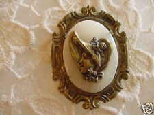 (C-545) vintage lady hat brass cameo Mother of Pearl oval pin