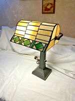 Table Desk Banker Lamp Art Deco Tiffany Style Stained Glass Slag Style Light