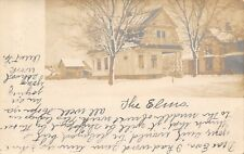 "Linden Iowa~""The Elms"" Craft House~Farm House & Barn in Snow~1907 RPPC"