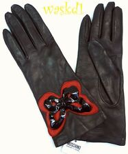 MOSCHINO black 7 LEATHER Silk lined patent & red BUTTERFLY gloves NWT Authentic!