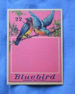 8287 Antique Bluebird button card, beautiful birds graphic, no buttons/blank