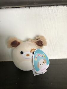 """Squishmallow 3.5"""" Clip-On Harrison The Dog NWT Clip Clipon With Fuzzy Ears HTF"""