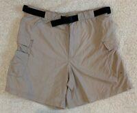 "Columbia Womens Khaki Nylon Belted Cargo Hiking Shorts Size S (30in), 6"" Inseam"