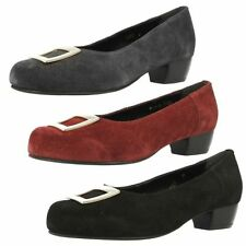 Suede Upper Court Shoes No Pattern Block Heels for Women