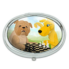 Dogs Playing Chess Metal Oval Pill Case Box