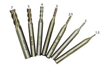 PROXXON CNC LOT DE 7 FRAISE DROITE  HSS TETES A 4 HELICES USINAGE PRECIS .