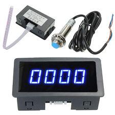 4 Digital LED Blue Tachometer RPM Speed Meter+ NPN Hall Proximity Switch Sensor