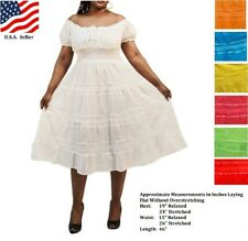 Sundress Plus Size Boho Mexican Peasant One Size Fits Most 1X-3X Assorted Colors
