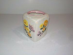 Vintage Ceramic Lusterware Vanity Tissue Box Cover Holder Retro Floral Designs