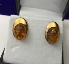 Vintage HM Hallmarked 9ct 9ct Gold Simple Oval Baltic Honey Amber Stud Earrings