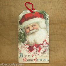 "A Very Merry Christmas Vintage Santa Wood Hang Tag 20"" x 11"" Primitives by Kathy"