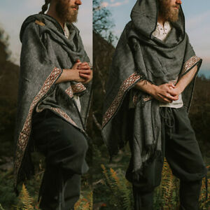 Mens Gothic Punk Cape Cloak Hippie Poncho Coat Jacket Medieval Costume Outwear