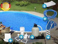 Schwimmbecken Pool oval 3,00x5,00x1,20m Stahlwand Komplettset Tief Folie 0,8mm