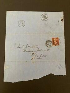 Postal History GB QV 1872 Skipton CDS Parish Return 1d Red Plate 144 Cat £25