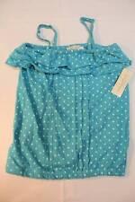 NEW Girls Shirt Tank Top Size 7 - 8 Medium Blue Polka Dot Blouse Summer Clothes