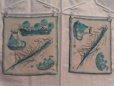 Vera Neumann Ladybug Linen Placemats/Napkin Blue Pears and Wheat 2+1/set