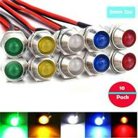 10X 12V 8mm LED Indicator Light Lamp Bulb Pilot Dash Panel Car Truck Boat HOT