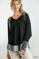 Umgee Black Animal Print Long Sleeve V-Neck Waffle Knit Tunic Top