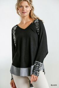 Umgee Animal Print Long Sleeve Waffle Knit Top Size S M