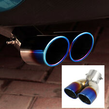 Universal Stainless Steel Car Rear 73mm Dia Dual Exhaust Pipe Tail Muffler Tip