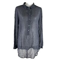 Equipment Femme Womens Black Dotted Silk Long Sleeve Sheer Blouse Size Large