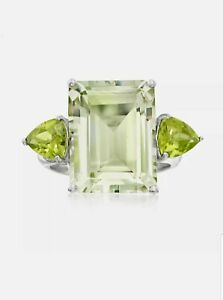 Ross-Simons Emerald-Cut Green Prasiolite & Peridot Ring  Sterling Silver size 7