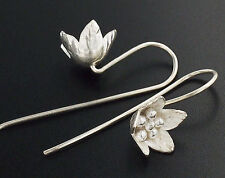 Karen Hill Tribe Silver 1 pair Flower  Earrings 10mm.