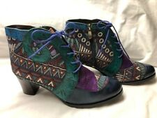 Socofy Woman Boots 9 - Fun Bright Tapestry & Leather Block - Ankle Boots - New