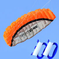 ORANGE NEW 1.8m Dual Line Parafoil Parachute Stunt Sport Beach Outdoor Toys kite