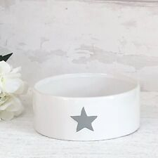 Shabby Chic Grey Ceramic Dog Bowl White with Matt Grey Heart