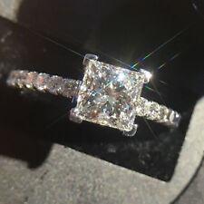 1.32 Ct Princess Cut Diamond Wedding Engagement Ring 14K White Gold Size N M J K