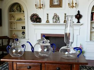 Antique Dollhouse Doll Miniature Blown Glass Blue Tea Pot Lamp Lot 1:6