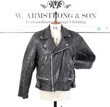Men's VINTAGE 80s Black GENUINE LEATHER Biker Motorcycle Racing Punk Jacket UK M