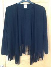 Ladies Black Tassel Cardigan Size 8 To 10 TU Moleskin Black New No Tags