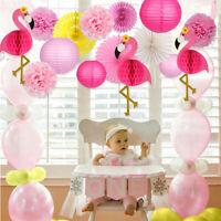 Flamingo Paper Honeycomb Tissue Paper Fan Lanterns Wedding Party Beach Decor Set