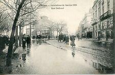 CARTE POSTALE / ANGERS INONDATIONS DE JANVIER 1910 QUAI NATIONAL