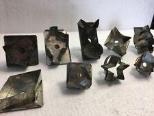 Vintage Metal Tin Cookie Cutters Lot Of 10 Santa Tree Bell Spade Star Diamond
