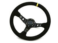 350MM Deep Dish Steering Wheel Suede Leather Fits MOMO OMP NARDI BOSS HUB