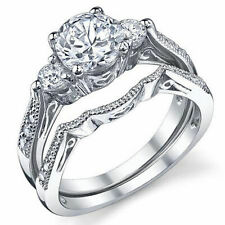 14k Gold Over 92 00004000 5 Sterling Silver Round Cubic Zirconia Wedding Bridal Ring Set