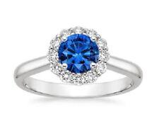 1.60 Ct Genuine Diamond Wedding Ring 14K White Gold Blue Sapphire Rings Size N P