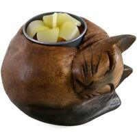 Wooden Tea light Holder Curled Candle Cat Nightlight Stand Outdoor Ancient