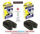2 Camera d'aria MICHELIN 700x18/25C Valv. Presta 52mm per Bici 28