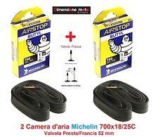 """2 Camera d'aria MICHELIN 700x18/25C Valv. Presta 52mm per Bici 28"""" Corsa Strada"""