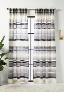Anthropologie Curtain Panel Davonne Stripe Gray Ivory Black 1 Single 50 x 96 NIP